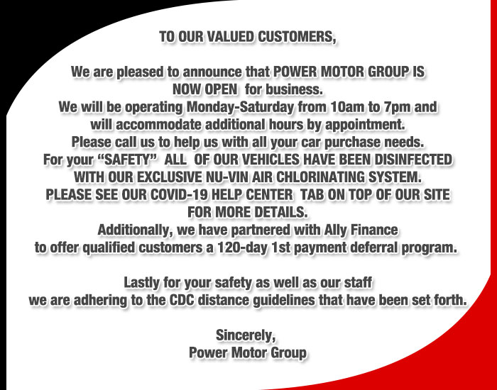 POWER MOTOR GROUP WILL BE OPEN